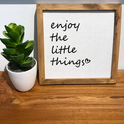 "Cadre bois et lin ""Enjoy the little things"""