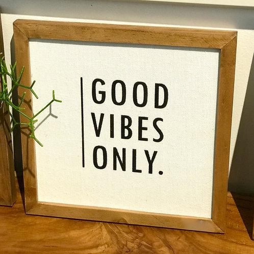 """Cadre décoratif bois et lin """"Good Vibes Only"""""""