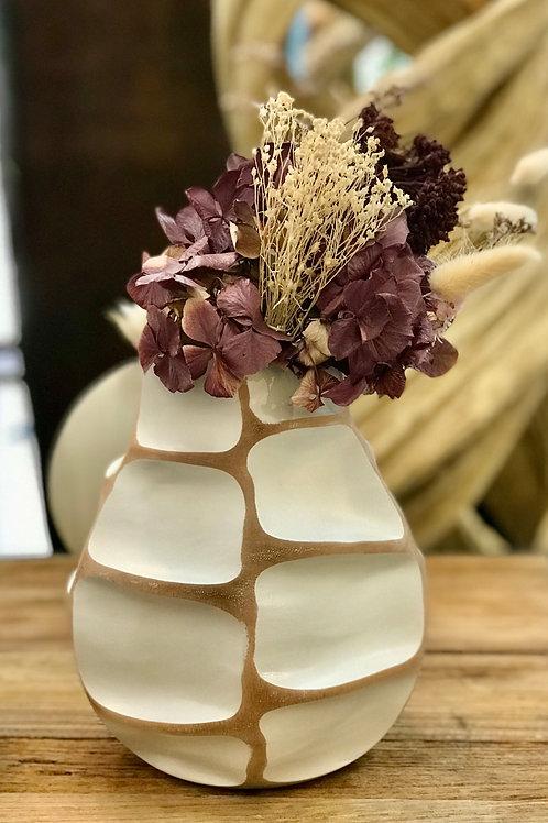 """Vase en bois de manguier """"Nid d'abeille"""" blanc"""