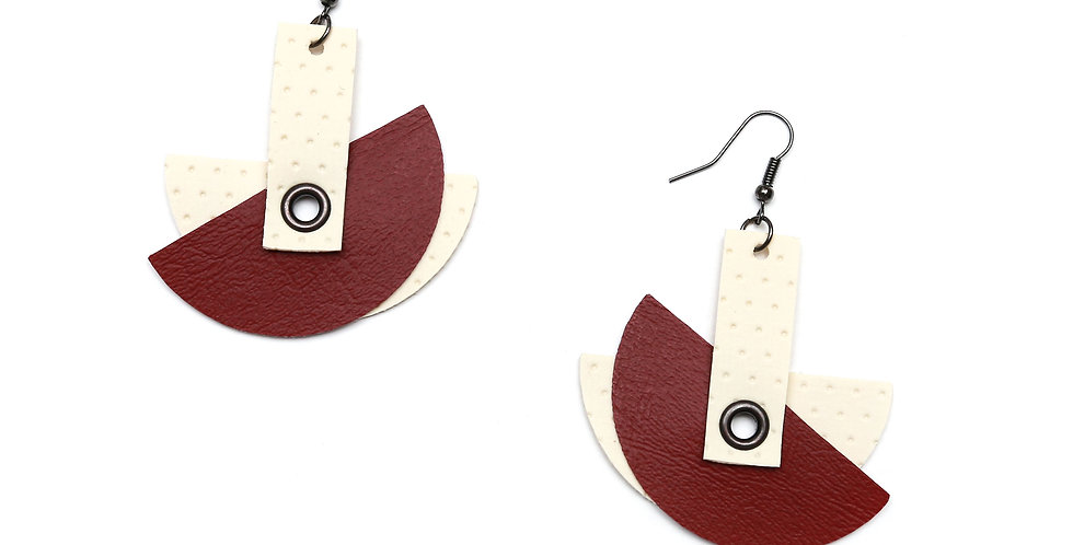 Cranberry red and ivory earrings