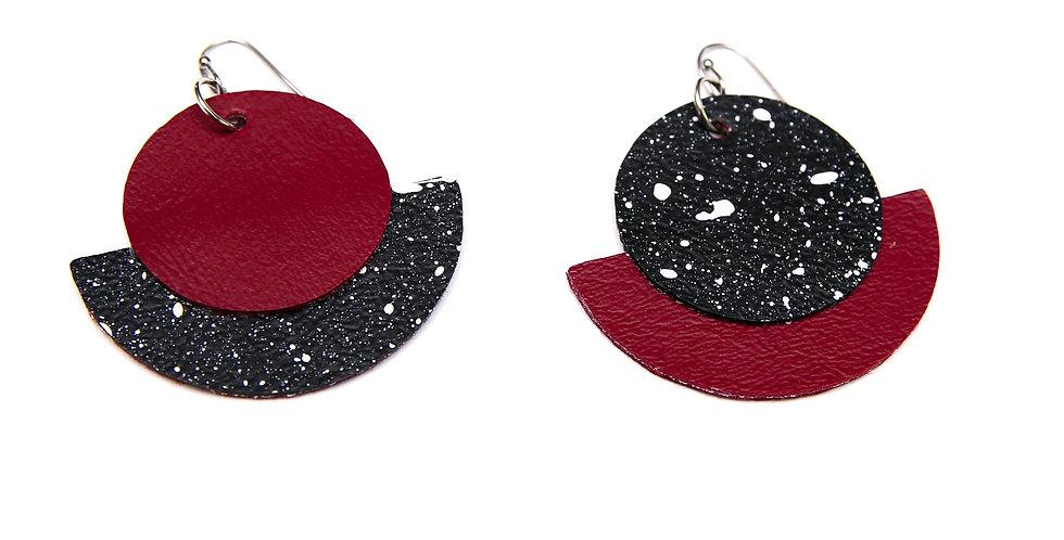 Asymmetric hand painted earrings