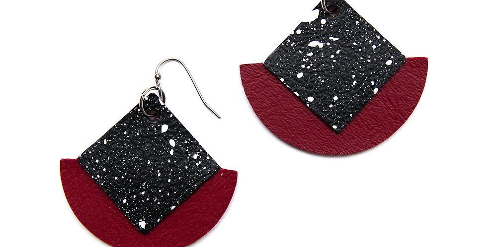 Diamond and semicircle earrings