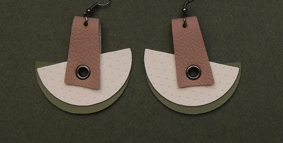 Green and creams earrings