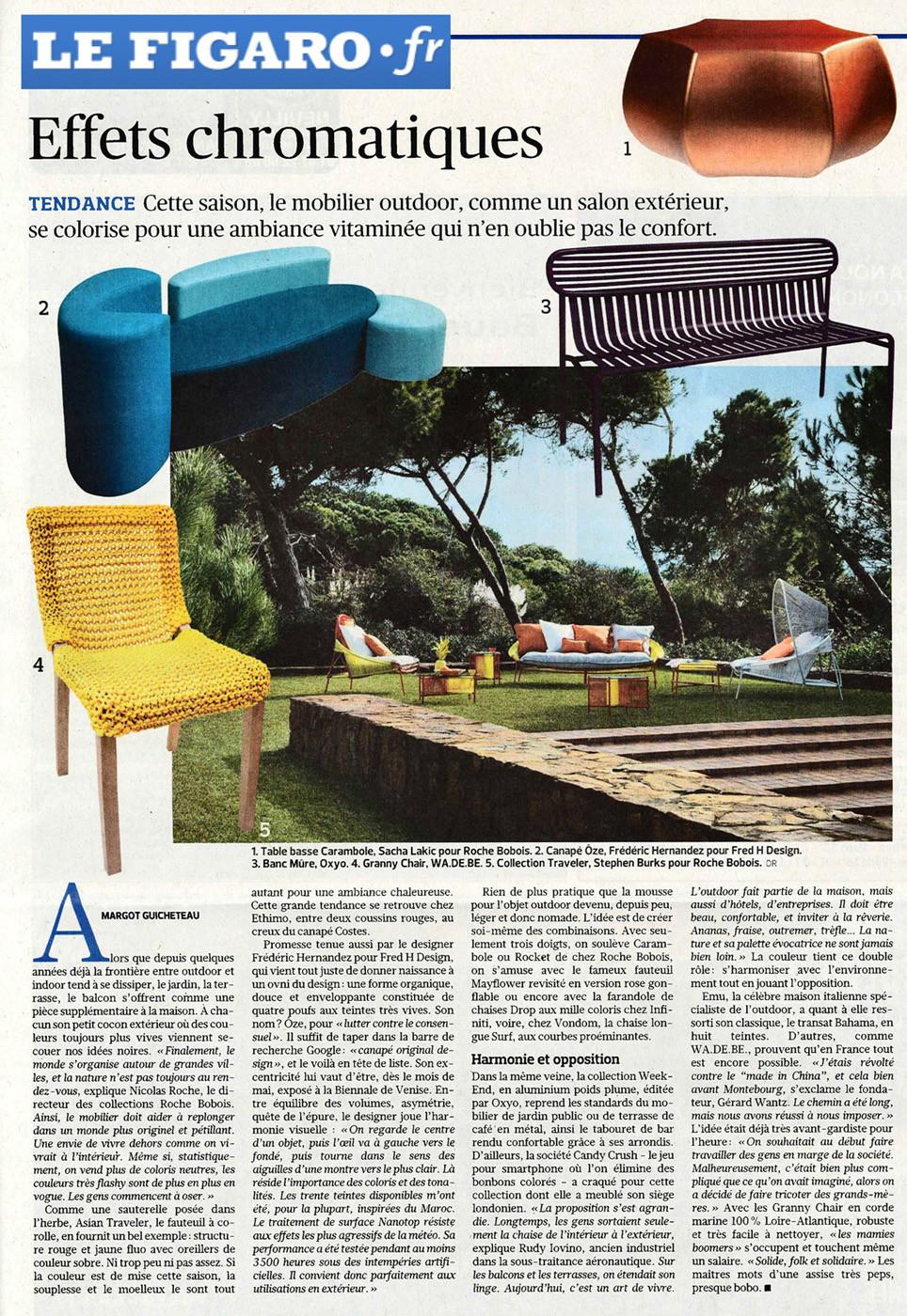 Le Figaro Parution Canapé Ôze By Fred Hernandez