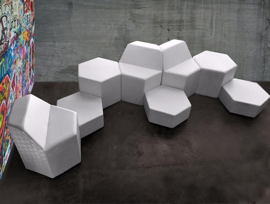Poufs HexÔ by Fred Hernandez pour Hashtag Design Paris