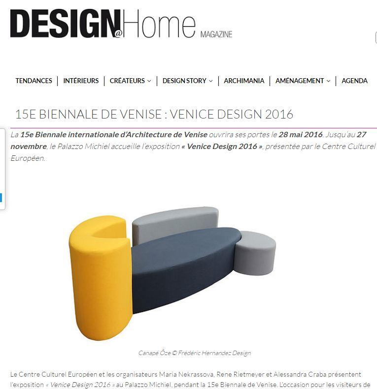 Design @ Home Parution Canapé Ôze Biennale de Venise By Fred Hernandez