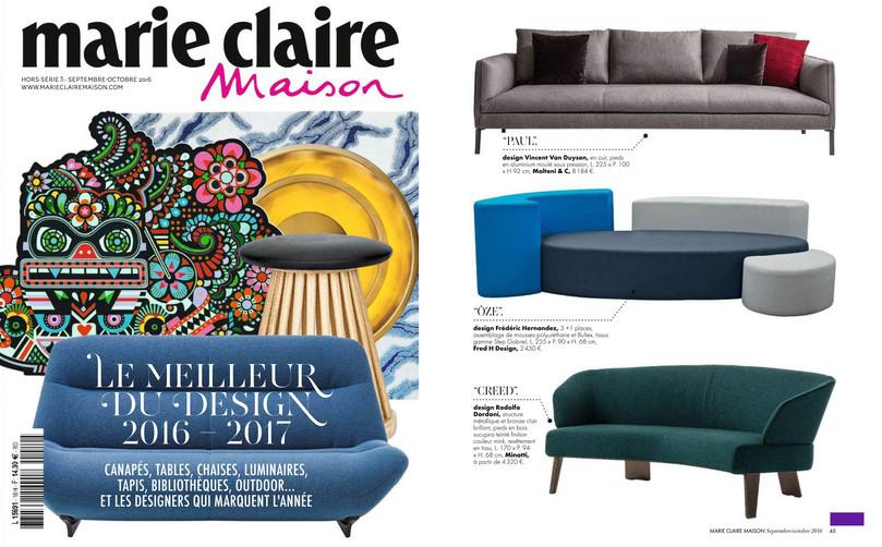 Marie Claire Maison le meilleur du Design 2017 Parution Canapé Ôze By Fred Hernandez