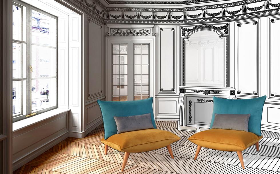 Fauteuil Bô M by Fred H Version Velours pour Hashtag Design Paris