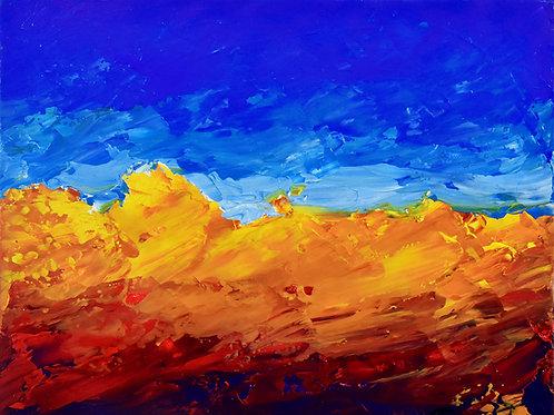 Arizona 5 half figurative painting landscape by Emma Coffin
