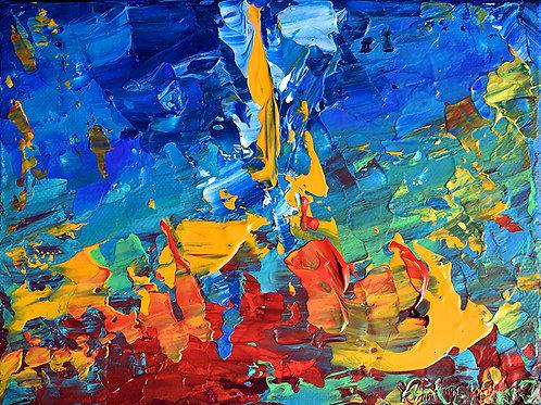 Aquarius ou la Tour des Atlantes peinture abstraite contemporaine par Emma Coffin artiste peintre