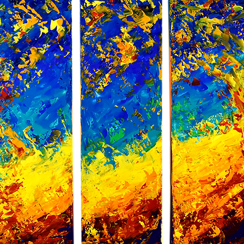 trityque: The Space Wave peinture moderne par Emma Coffin artiste peintre