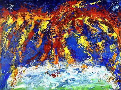 Le Phénix peinture abstraite contemporaine par Emma Coffin artiste peintre