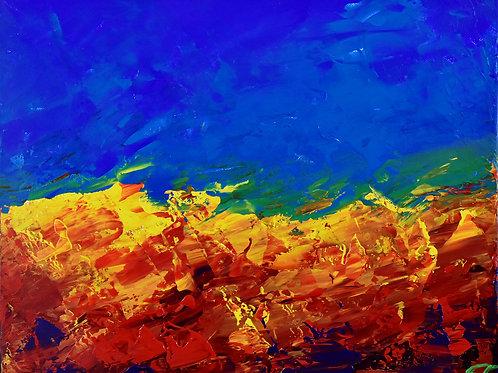 Arizona Lava peinture semi figurative paysage par l'artiste peintre Emma Coffin