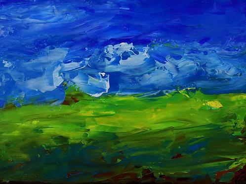 Paysage d'Ecosse Balayé par les Vents peinture contemporaine au couteau d'Emma Coffin artiste peintre et illustratrice