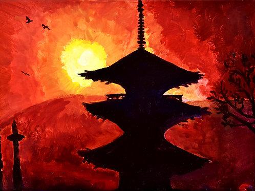 Japon Kyoto Toji peinture figurative monderne paysage par l'Artiste peintre Emma Coffin