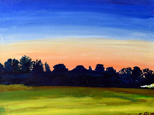Dainville crépuscule sur les arbres oeuvre originale sur toile de l'artiste peintre Emma Coffin