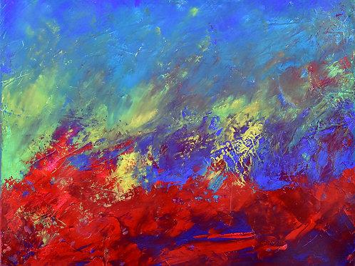 L'Eveil peinture abstraite contemporaine colorée texturée Emma Coffin