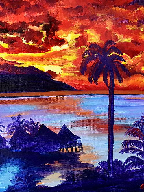 Tahiti : Crépuscule sur la Mer, peinture figurative paysage par l'artiste peintre Emma Coffin