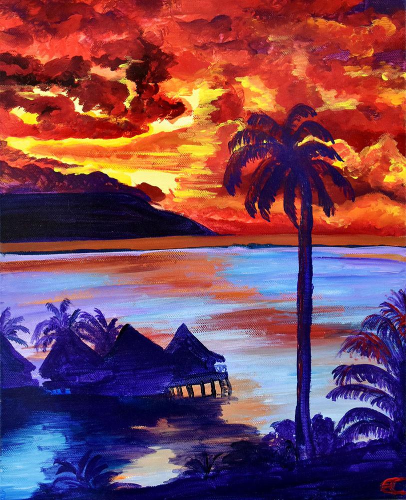 Tahiti : Crépuscle sur la mer