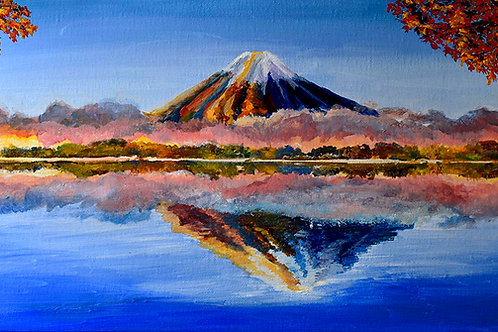 Japon Mont Fuji momiji peinture figurative paysage par l'artiste peintre Emma Coffin