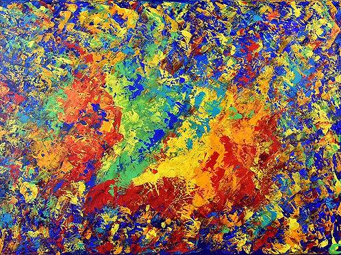 Voyage au Centre de la Couleur peinture abstraite moderne par Emma Coffin artiste peintre