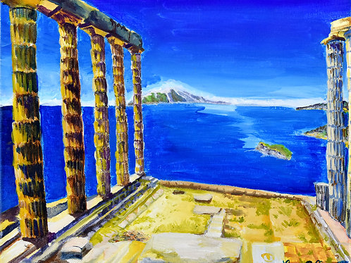 Grèce le Cap Sounion les ruines du temple de Poseidon peinture acrylique sur toile par l'artiste peintre Emma Coffin