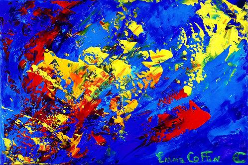 Sarvesham Svastir Bhavatu peinture contemporaine abstraite par l'artiste Emma Coffin