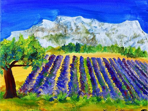 Provence : Montagne et Champ de Lavande peinture figurative paysage par Emma Coffin artiste peintre
