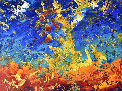 La Vague Céleste tableau abstrait par l'artiste peintre Emma Coffin