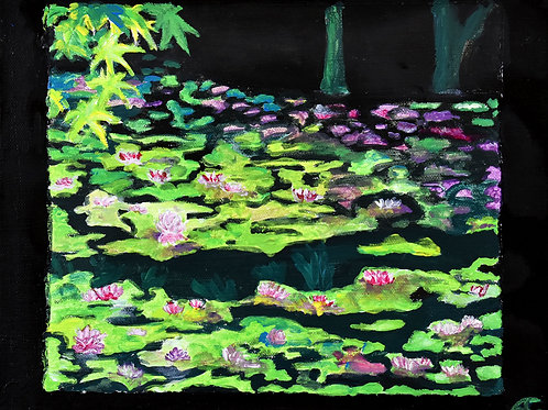 Kyoto jardin du Ryoan-ji peinture figurative paysage par Emma Coffin artiste peintre et illustratrice