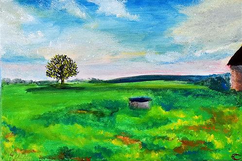 Paysage Champêtre. art paysager par l'artiste peintre et illustratrice Emma Coffin