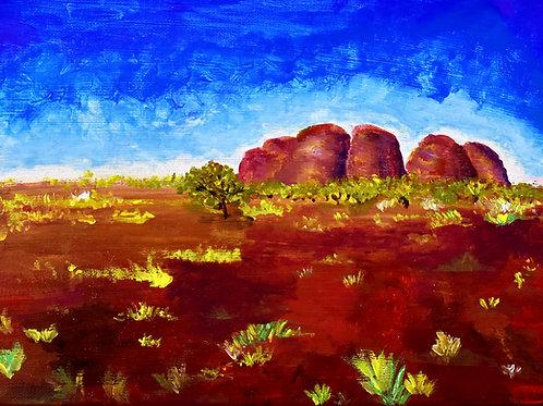 Australia Peeble Valley original acrylic painting on canvas by Emma Coffin painter and illustrator