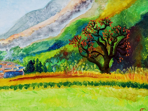 Kyoto-Ohara Kaki tree figurative painting on canvas by Emma Coffin Painter