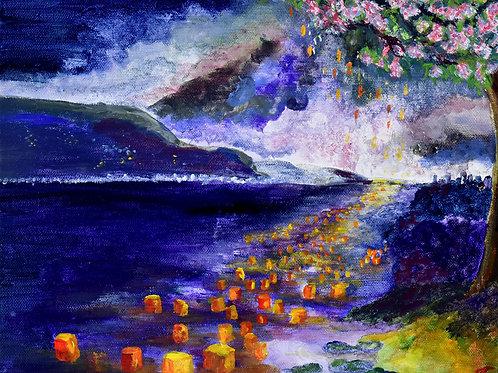 Japon Fêtes des Lanternes peinture figurative sur toile par l'artiste peintre et illustratrice Emma Coffin