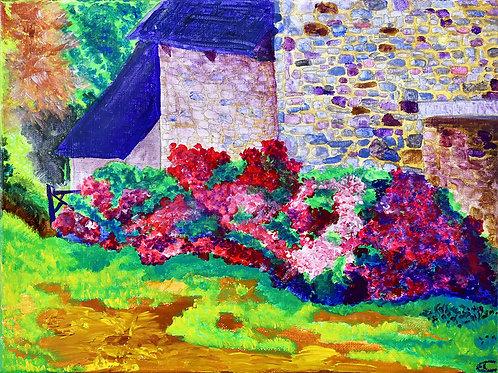La Maison Bretonne peinture figurative paysage par l'artiste peintre et illustratrice Emma Coffin