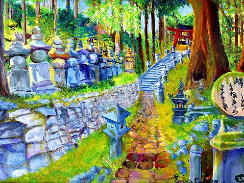 Japon Esprit de Koyasan peinture figurative paysage par Emma Coffin artiste peintre