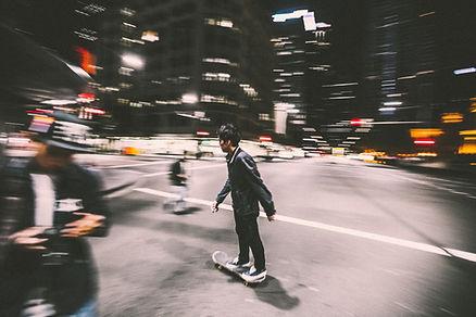 Skateboarding at Night