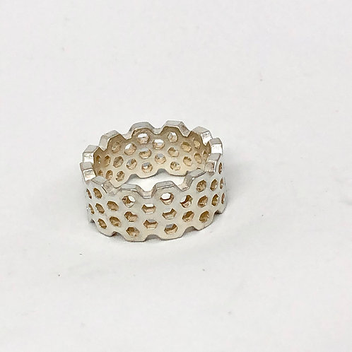 Honeycomb Band Silver Wide