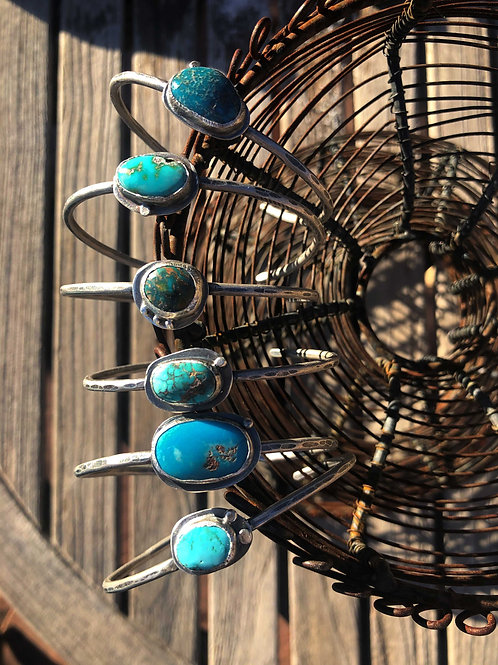 Mini Cuff with Turquoise Hammered Stack