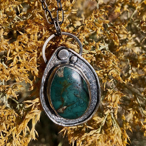 Teal Turquoise Pendant Necklace