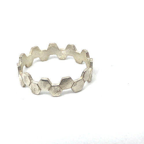Honeycomb Stack Ring Silver