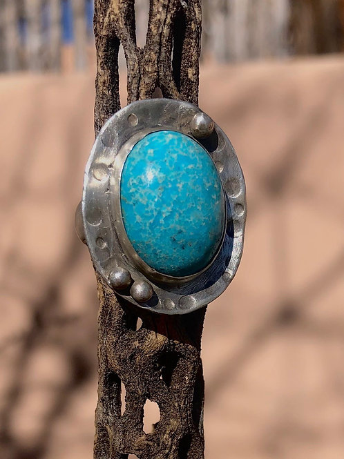 Turquoise Statement Ring Silver Hammered