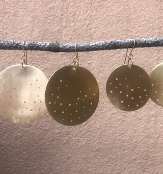 Gold Starry Night Disk Earrings