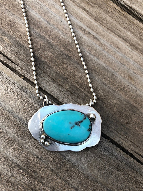 East West Cloud Turquoise Necklace Silver