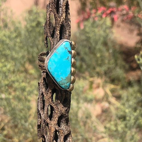 Turquoise Statement Ring Silver &Gold-Tone