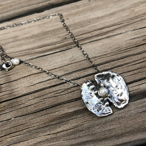 Oyster Shell with Pearl  Silver Necklace