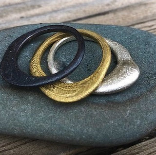 Beach Pebble Stack Rings Mixed Metals