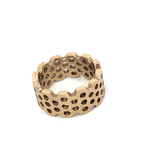 Honeycomb Wide Band in Bronze