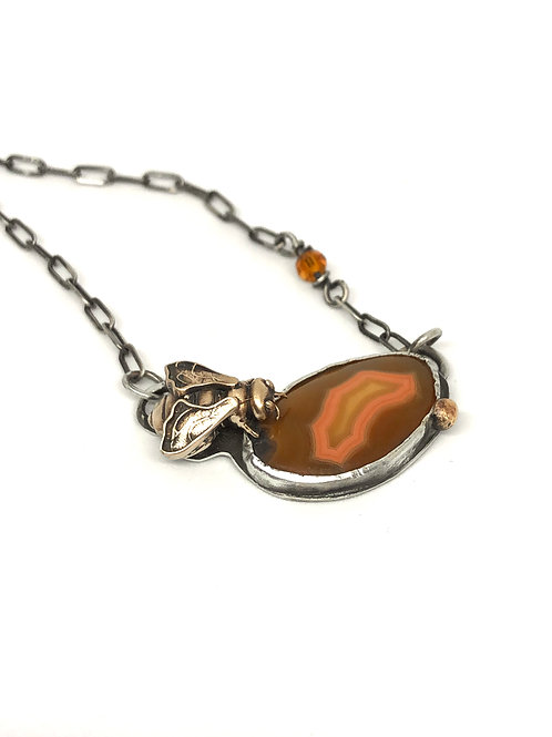 Bee on Agate Necklace