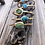 Thumbnail: Gold Tone Mini Cuff with Turquoise Hammered Stack